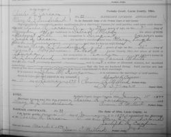 1898 Marriage record from Lucas County, Ohio