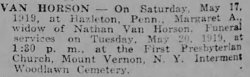 Mrs. Van Horson's Obituary 1919