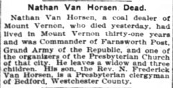Mr. Van Horsen's obituary 1905
