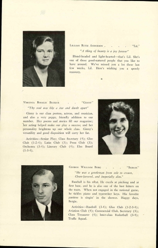 U.S., School Yearbooks, 1900-1990 - Virginia Rosalie Becker